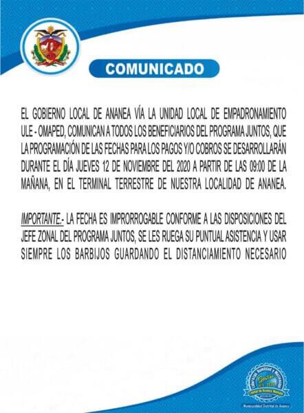 COMUNICADO DIRIGIDO A TODOS LOS BENEFICIARIOS DEL PROGRAMA JUNTOS DEL DISTRITO DE ANANEA.