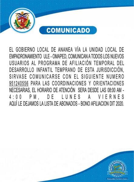 COMUNICADO DIRIGIDO A LOS NUEVOS BENEFICIARIOS AL PROGRAMA DE AFILIACION TEMPORAL DEL DESARROLLO INFANTIL DE ESTA JURISDICCION.