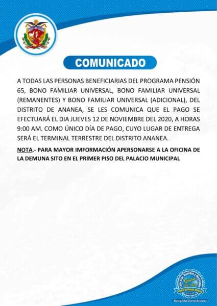 COMUNICADO DIRIGIDO A TODOS LOS BENEFICIARIOS DEL PROGRAMA PENSION 65, BONO FAMILIAR UNIVERSAL DEL DISTRITO DE ANANEA