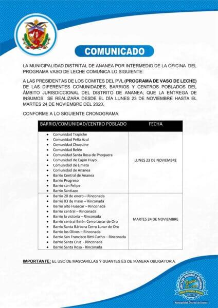 COMUNICADO DIRIGIDO A TODOS LOS COMITES DEL PROGRAMA DE VASO DE LECHE DE LAS DIFERENTES COMUNIDADES, BARRIOS Y CENTROS POBLADOS DEL ÁMBITO JURISDICCIONAL DEL DISTRITO DE ANANEA