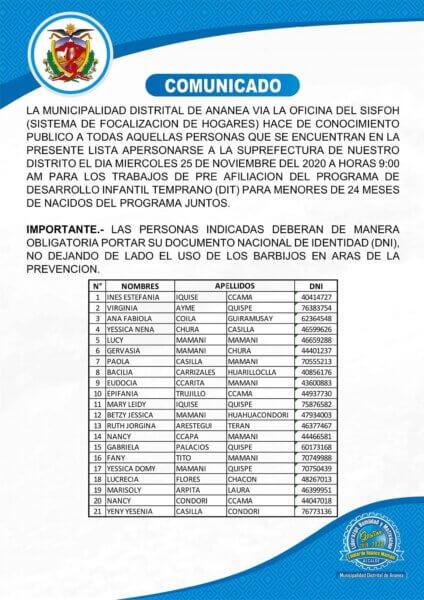 COMUNICADO-SISTEMA DE FOCALIZACION DE HOGARES
