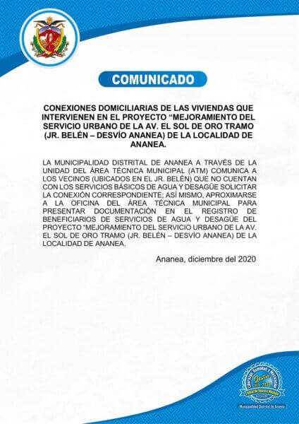 COMUNICADO-MEJORAMIENTO AV. SOL DE ORO