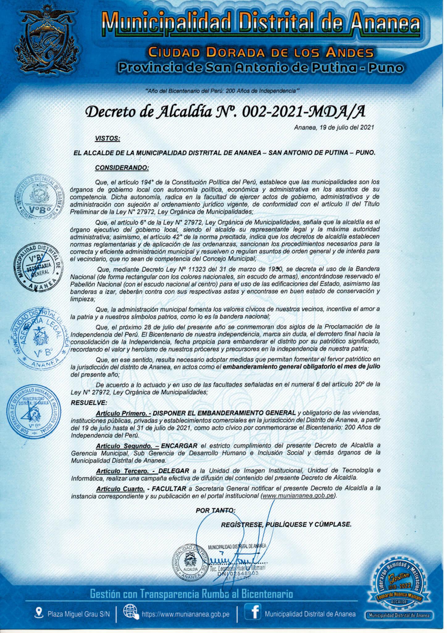 Decreto de Alcaldía Nº 002-2021/MDA/A
